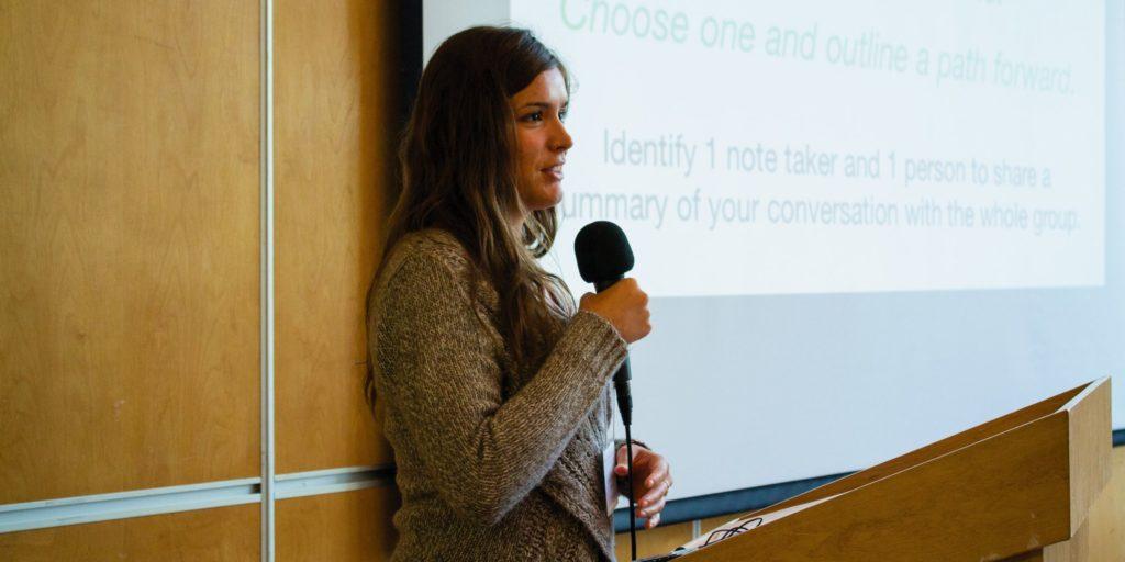 Shaelyn Wabegijig presenting