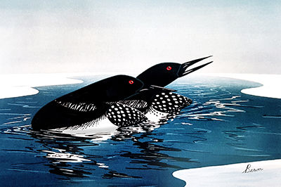 Loons greeting card by Rick Beaver