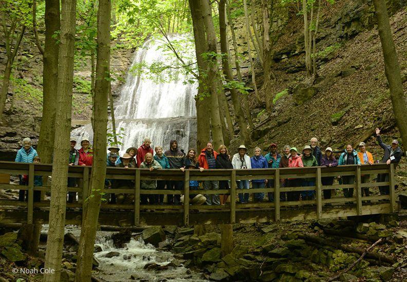 A group photo at Sherman Falls during Ontario Nature's Annual Gathering