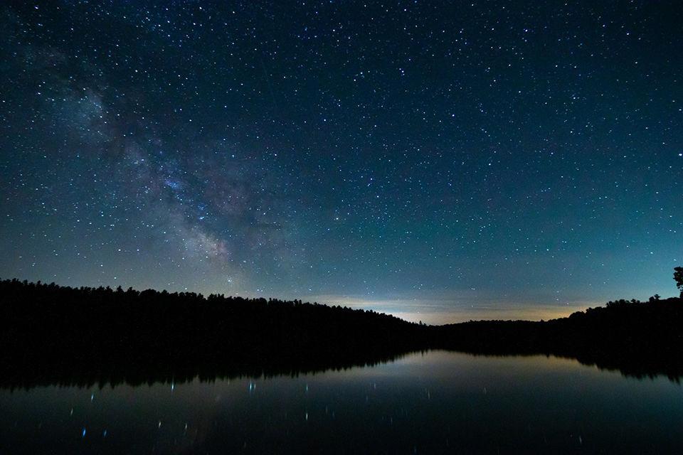Stars at night above Gananoque Lake