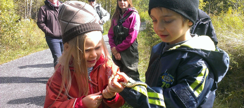 Children and gartersnake