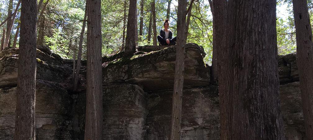 Meditating on the escarpment during a scavenger hunt