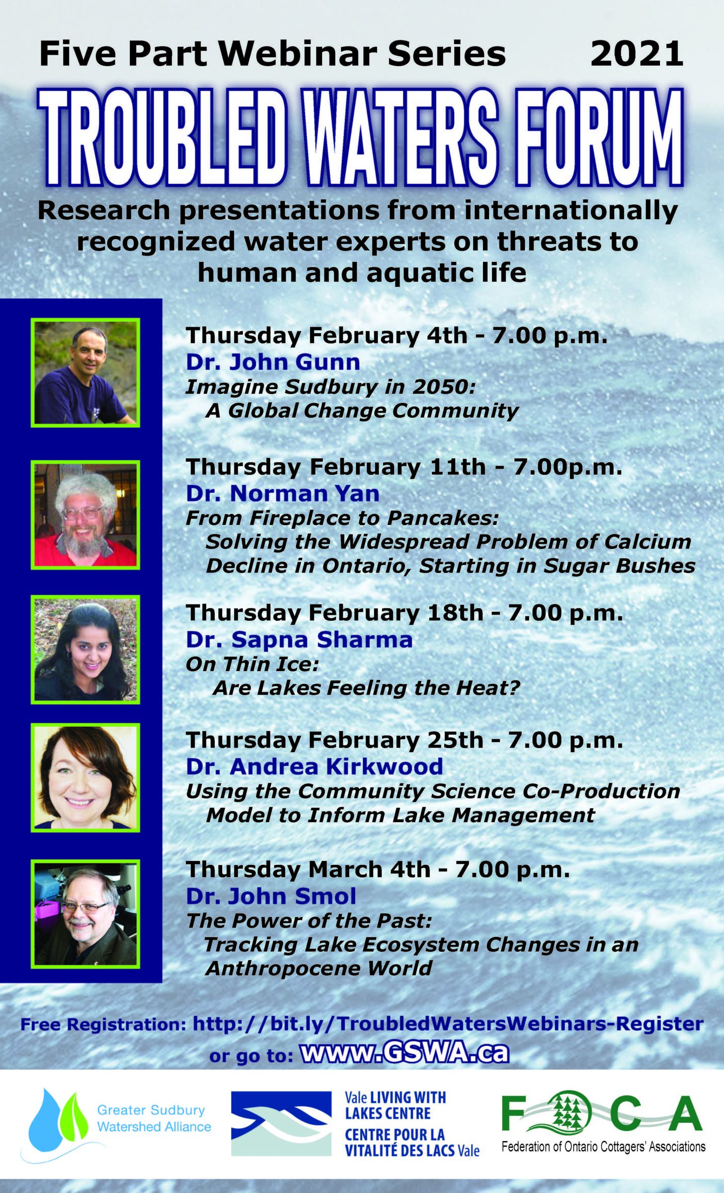 Research presentations from internationally recognized water experts on threats to human and aquatic life