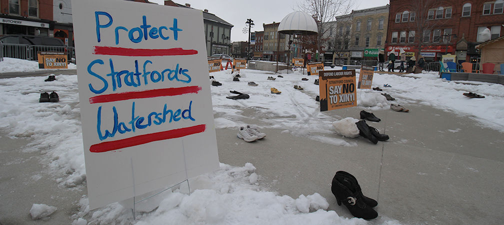 Protect Stratford's Water sign, Stratford MZO protest