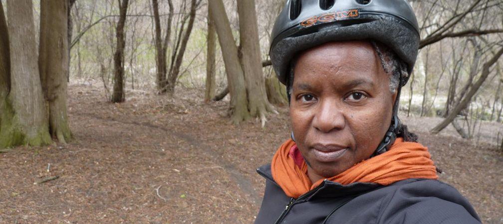 Jacqueline Scott on bicycle, Cootes Paradise