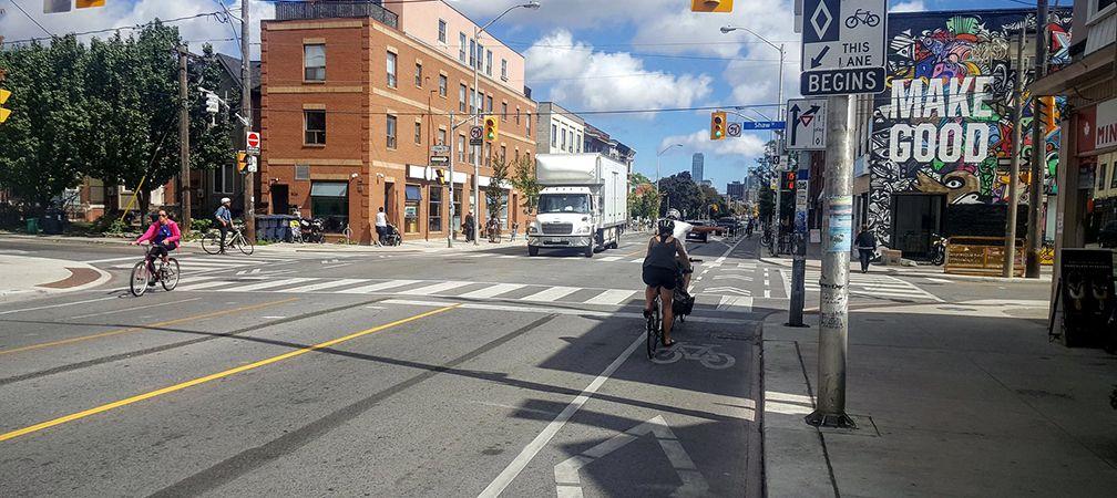 Bike commuters in dedicated bike lanes, Toronto