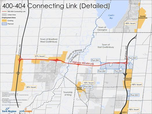 Map showing the growth and employment lands that will be connected by the Holland Marsh Highway, raising concerns about additional urban sprawl