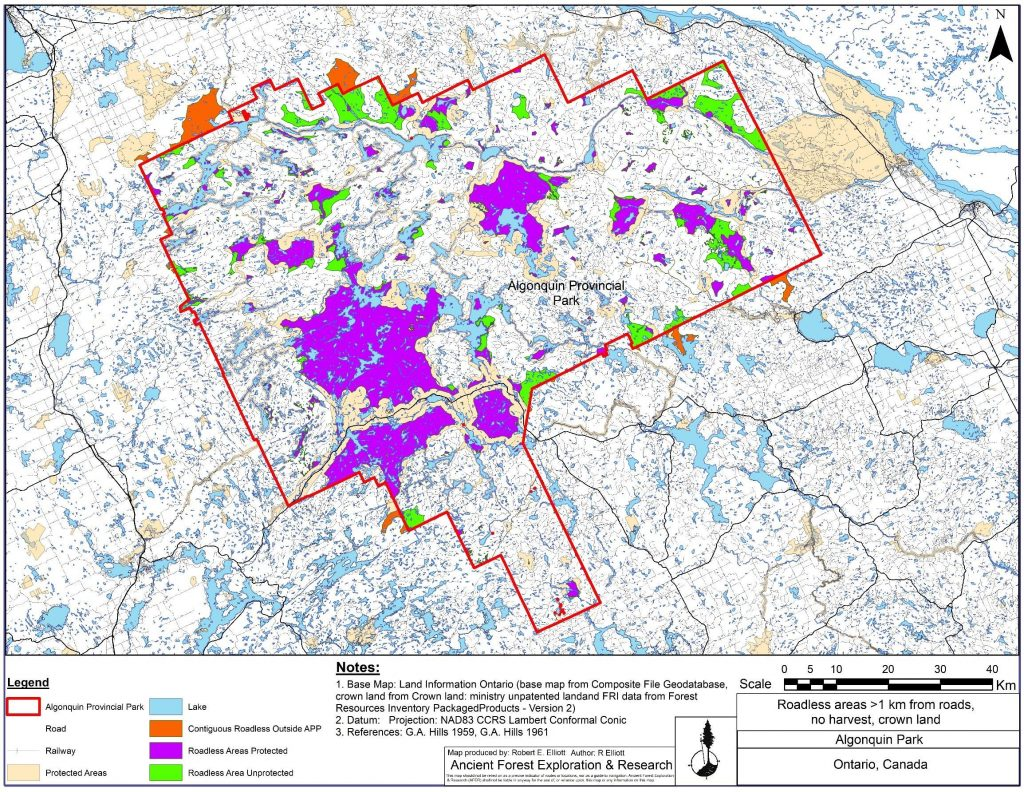 Map of roadless areas in Algonquin