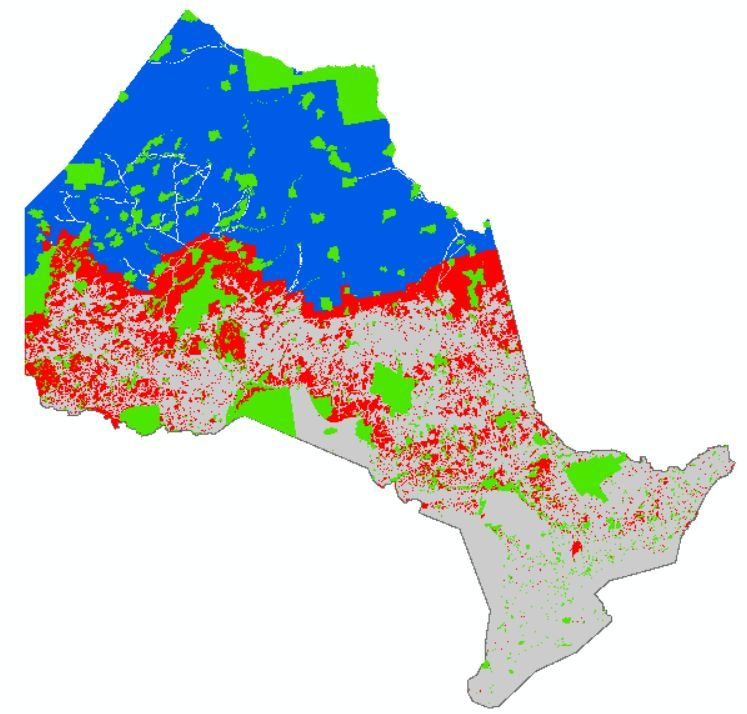 Preliminary map of roadless areas in Ontario
