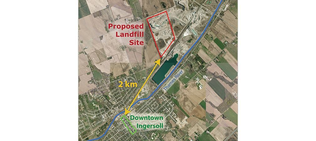Map shows proximity of planned site to Ingersoll